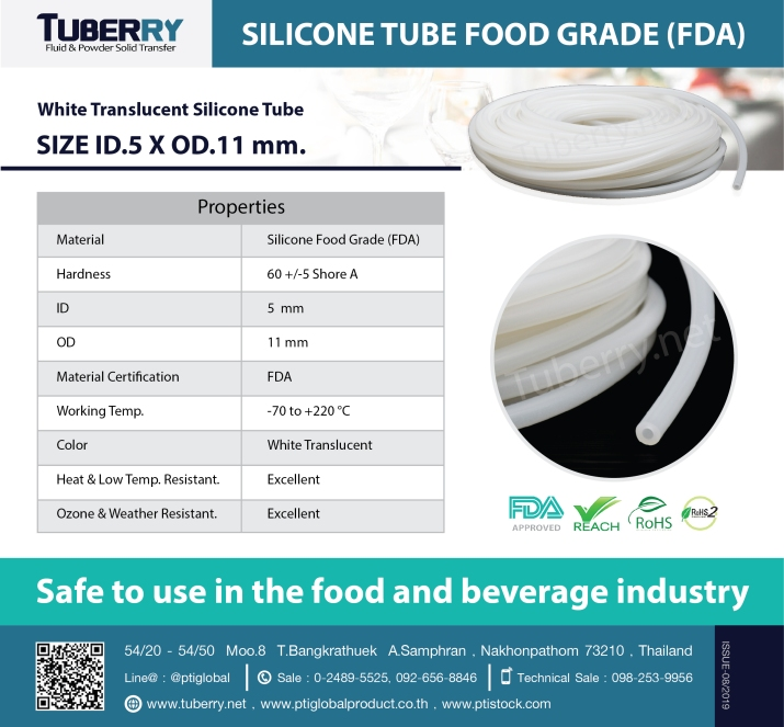 White Translucent Silicone Tube size ID.5 X OD.11